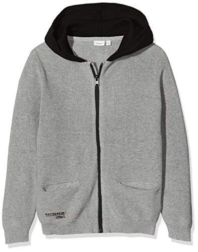 NAME IT Jungen NKMOBAND LS Knit Card WH Pullover, Grau (Grey Melange Grey Melange), 122/128 (Herstellergröße:122-128)