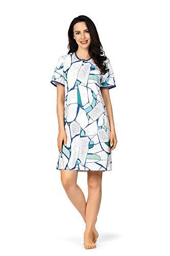 Comtessa Premium Damen Nachthemd kurzer Arm 201248 Baumwolle Weiß Blau Türkis Gr. 48-50 XL