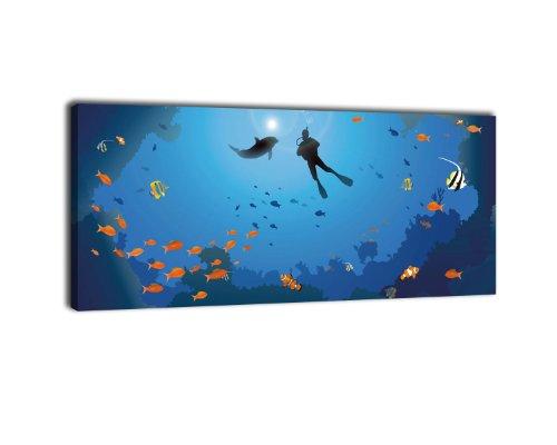 wandmotiv24 Leinwandbild Panorama Nr. 126 Riff 100x40cm, Keilrahmenbild, Bild auf Leinwand, Taucher Koralle Unterwasser