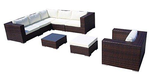 Baidani 10c00006.00002 Designer Lounge-Liege Gardendream, Ecksofa, 1 Sessel, 1 Hocker, 1 Couchtisch mit Glasplatte, braun