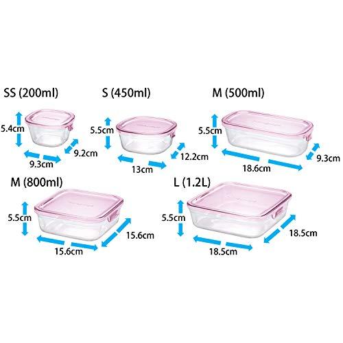 iwaki(イワキ)耐熱ガラス保存容器ピンク7個セットパック&レンジPS-PRN-P7