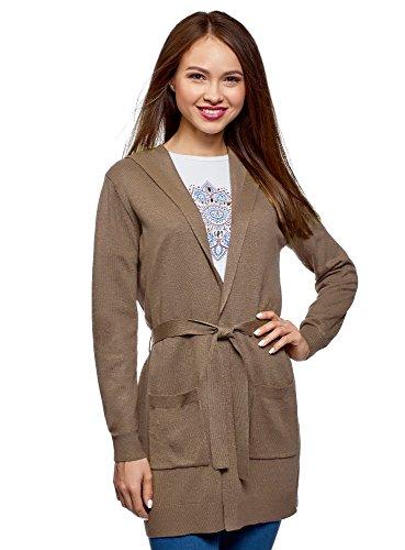 oodji Ultra Damen Cardigan mit Gürtel und Aufgesetzten Seitentaschen, Braun, DE 42 / EU 44 / XL