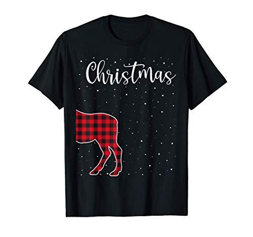Merry Christmas Red Plaid Buffalo Moose Couples Matching T-Shirt