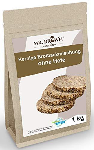 Mr. Brown Brotbackmischung 1kg   enthält Ballaststoffe   Proteinquelle   Brot backen ohne Hefe, mit Hafer, Leinsamen und Flohsamenschalen
