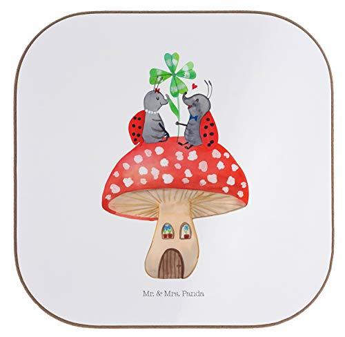 Mr. & Mrs. Panda feest, cadeaus, Vierkante onderzetters Lieveheersbeestje paar paddenstoel - Kleur Wit