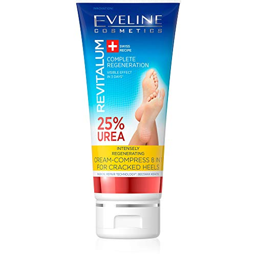 Eveline Cosmetics Revitalum Fußcreme für Sehr Trockene Füße 8 w 1 | 75 ml | 25% UREA Fusscreme | Innovative Formel Hornhaut Fußpflege Creme | Feuchtigkeitsspendend