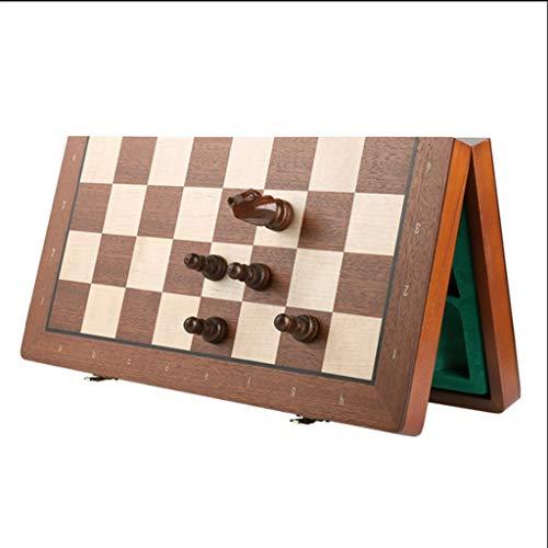 BIAOYU Juego de Ajedrez Conjunto de ajedrez Internacional de Madera magnética Hecho a Mano Tablero de ajedrez portátil Juego de Juegos de ajedrez Party Family Actividades Regalo Juego de Mesa
