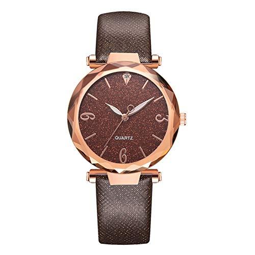 DyAn Moda Simple PU Correa Mujer Señora Reloj Delicado Rosa Oro Caja De Pulsera De Cuarzo, Marrón