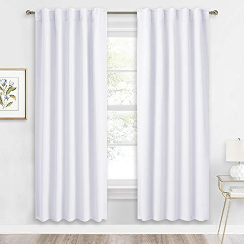RYB HOME Room Darkening Curtains Window Shades, Privacy Protect Sunlight Block Back Tab & Rod Pockets Top for Living Room/Kitchen/Studio Backdrop, W 42 x L 72 in, Pure White, 1 Pair