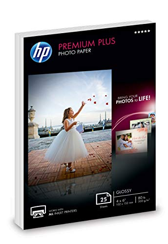 HP Premium Plus Photo Paper | Glossy | 4x6 | 25 Sheets (4WN03A)