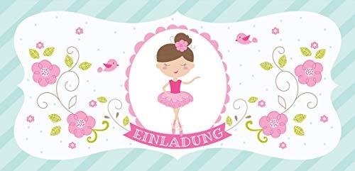 CardWheels 12 Einladungskarten Ballerina + 13 Aufkleber Gratis - Mädchen Party Einladung Ballett Tanz