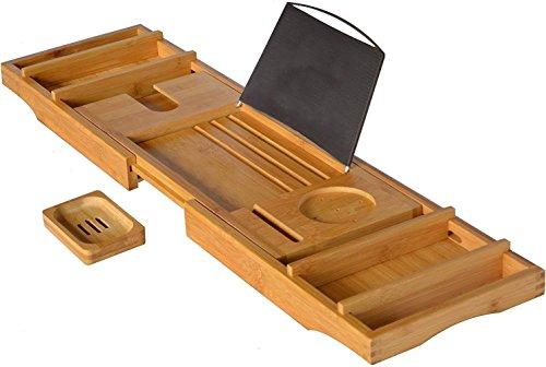CLEAVE WAVES Luxe Bamboe Badkuip Caddy en dienblad, Uitbreidbaar Antislip Houten Badlade Beveiligt Drankjes, Boek/Tablet,Badaccessoires,Telefoon