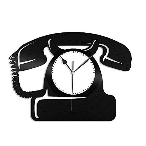 MUZILIZIYU Teléfono Vintage Pared Reloj de Vinilo Retro récord de Vinilo Reloj de Pared Decoración del hogar-con luz LED (Color : No Led Light)