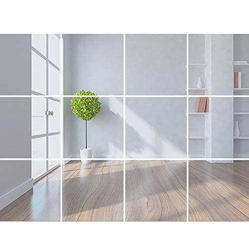 VVEMERK Lámina de espejo autoadhesiva, espejo adhesivo para pegar en la pared, 32 unidades, 15 cm x 15 cm