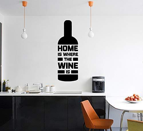 Home Is Wurden The Wine Ist - Flasche Spruch Spruch Wandsticker Aufkleber Kunst Bild - Schwarz, 56 cms wide x 172 cms high