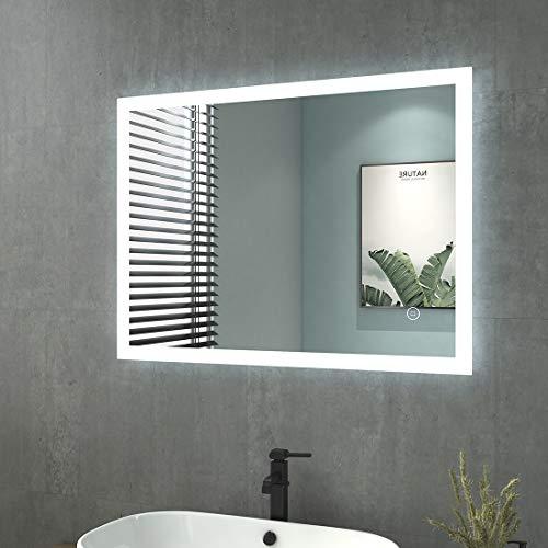 Espejo de baño con iluminación, 80 x 60 cm, espejo de baño con iluminación LED, color blanco frío, espejo de pared con interruptor táctil + antivaho IP44 de bajo consumo