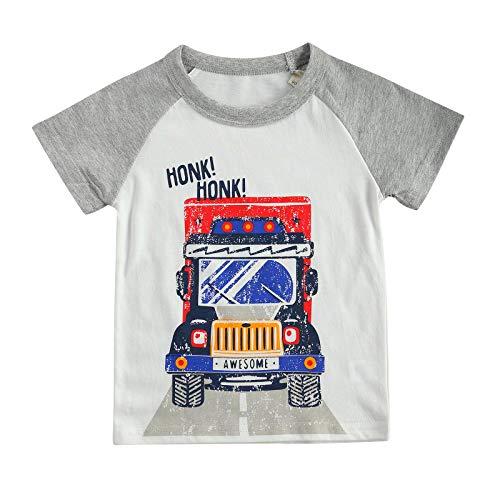 Camiseta de verão para meninos com estampa criativa de letras de caminhão, Branco, 9-10 anos