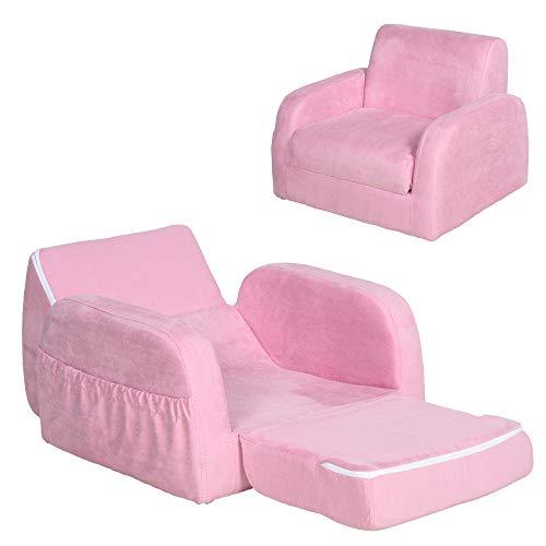HOMCOM Sillón para Niños Sofá Transformable Diseño 2 en 1 Cama Infantil Plegable de 2 Posiciones con Reposabrazos Asiento Ancho Acolchado 51x45x38 cm Rosa