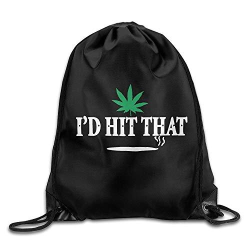 Lawenp Unisex Bag I'd Hit That Marijuana Pot Weed Stoner Drawstring Backpack