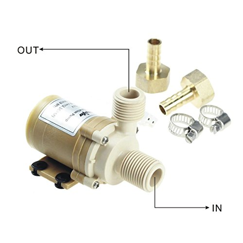 bayite BYT-7A015 DC 12V Solar Hot Water Heater Circulation Pump with DC Power Supply Adapter Low Noise 3M Head 8LPM 2.1GPM