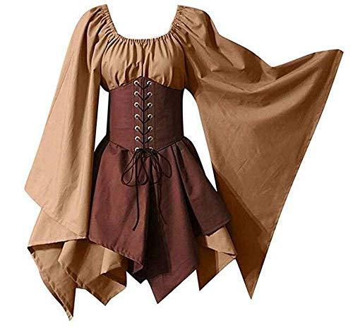 PORU Spritumn Disfraces De Halloween Vestidos Disfraces Gótico Retro Vestido De Corsé De Manga Larga Medieval Cosplay,A-S