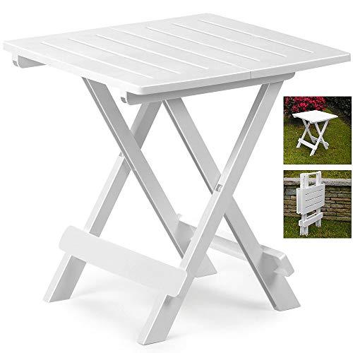 DRULINE klappbarer Campingtisch Agide Beistelltisch aus Kunststoff (Weiß) 43 cm x 45 cm x 50 cm
