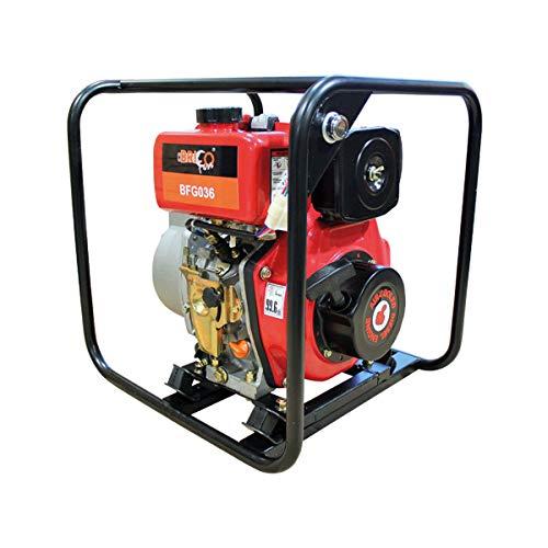 Bricoferr BFG036 Motobomba De Agua a Diesel Arranque Eléctrico, Negro y Rojo