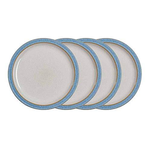 Denby 381048905 Elements 4 Piece Dinner Plate Set, Blue
