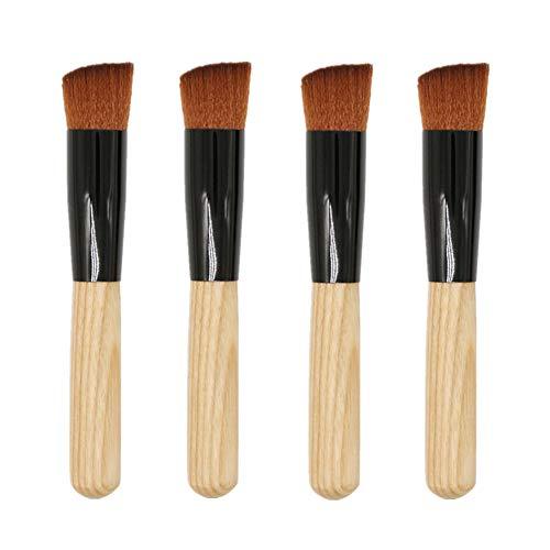 Lot de 4 pinceaux Kabuki à manche en bois pour fond de teint, poudre, crème et liquide de maquillage Kabuki à tête plate