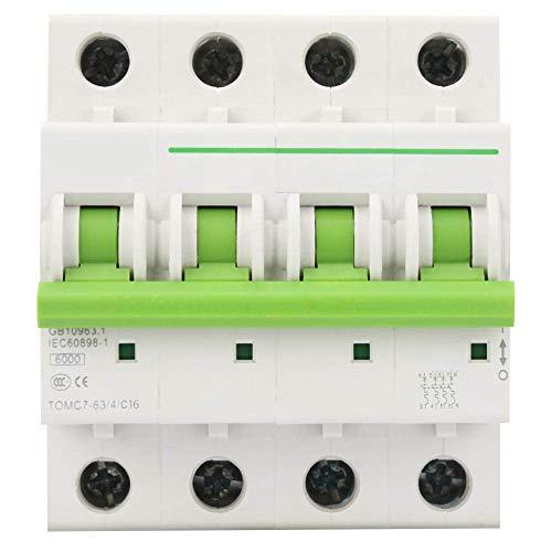 ZYL-YL Disyuntor 4P 6KA Miniature Circuit, de tipo C Interruptor de fuga de fuga Protección del Aire Switc, con protección contra sobrecarga y la protección de cortocircuito (16A)