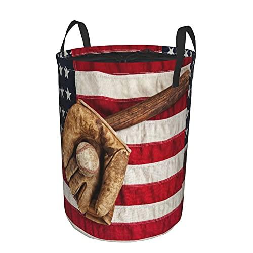 Cesta de almacenamiento  bate de béisbol vintage  guante y pelota en una bandera estadounidense vintage  cesto de lavandería grande plegable con asas 19 x14