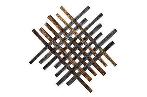 KunstLoft Extravagante Metall Wandskulptur 'Schimmerndes Licht' 100x100x3cm | Design Wanddeko XXL handgefertigt Metallbild Wandrelief | Raute Streifen Silber Abstrakt | Wandbild modern