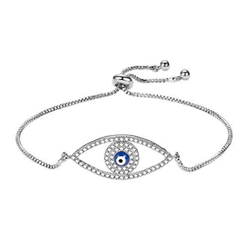 Suplight Evil Eye Bracelet for Women/Teen Girls,Cubic Zirconia with White Gold Plated Adjustable Box Bolo Chain Evil Eye Bracelet