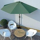 UnfadeMemory Ombrellone da Giardino, Parasole Palo in Alluminio, Ombra e Protezione Solare per Balconi - a metà (300x150cm, Verde)