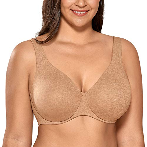 DELIMIRA AISILIN Women's Plus Size Bras Minimizer Seamless Unlined Cup Chanterelle 46DD