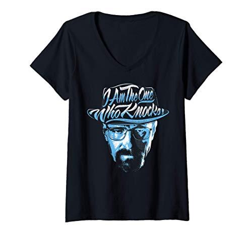 Femme Breaking Bad I Am The One Who Knocks Blue Hue Portrait T-Shirt avec Col en V