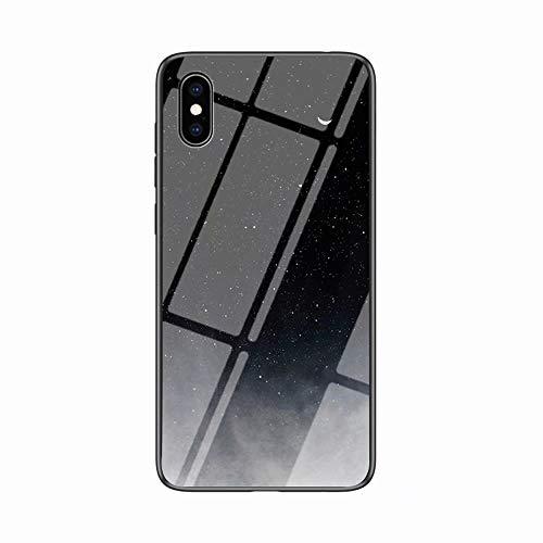 Miagon Glas Handyhülle für iPhone X/XS,Himmel Serie 9H Panzerglas Rückseite mit Weicher Silikon Rahmen Kratzresistent Bumper Hülle für iPhone X/XS,Schwarz