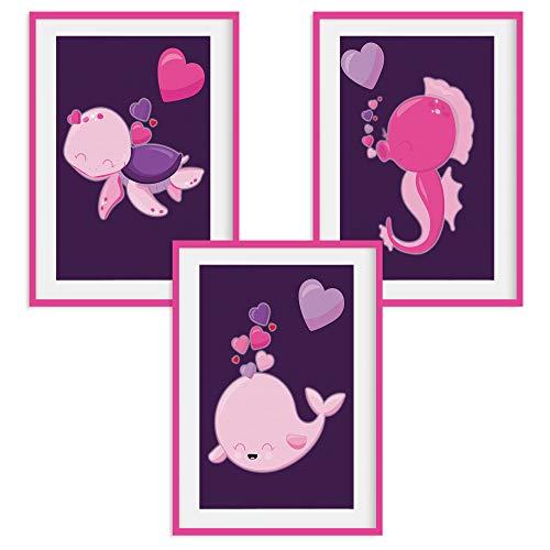 HappyWords® 3er Bilder Set - DIN A4 ohne Bilderrahmen | Bilder für Kinderzimmer & Bilder Babyzimmer | Junge Mädchen Baby | Kinder-Poster | Tiere Kinderbilder Kinderzimmer | 3er Set Meerestiere 2
