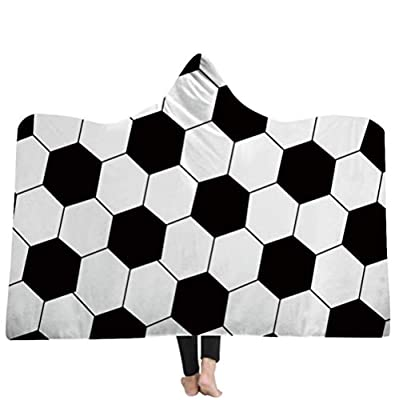 mucloth Kids Oversized Soccer American Football Pattern Hooded Soft Sherpa Blanket Cloak with Hood
