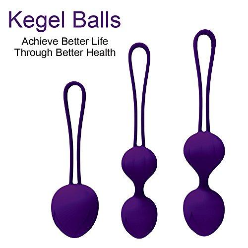 Newkeen Bolas Chinas Kegel Ejercitador Suelo Pélvico Músculo Impermeable Silicona Médica Masaje Ball Control de Vejiga para Mujer - Silicona Médica Kit de Pesas de Ejercicio Kegel (Púrpura)