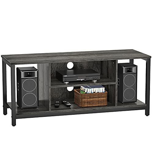 Aheaplus TV Stand TV Cabinet for TV up to 50 inch 3 Tier Mid Century Modern TV Stand with Open Shelving Storage Entertainment Center TV Console Retro Industrial TV Stand for Living Room Bedroom, Oak