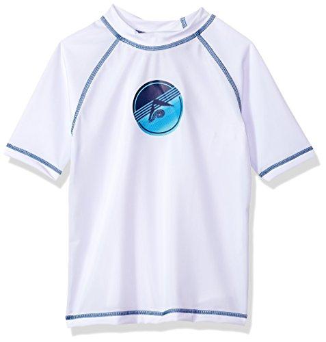 Kanu Surf Boys' Paradise UPF 50+ Sun Protective Rashguard Swim Shirt, Echelon White, Large (12)