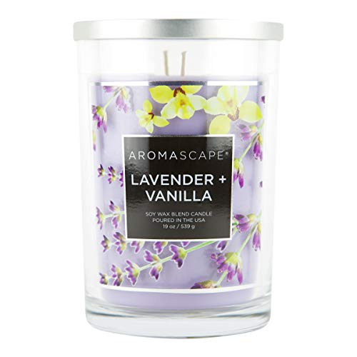 Aromascape 2-Wick Scented Jar Candle, Lavender & Vanilla, 19-Ounce, Purple
