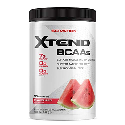 Scivation Xtend Original BCAA Powder, 7grams BCAAs, Branched Chain Amino Acids, 0 Sugar Electrolyte Drink plus Hydration, Keto Friendly, Watermelon, 30 Servings