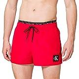 Calvin Klein Short Double WB Bañador para Hombre, Rojo Feroz, L