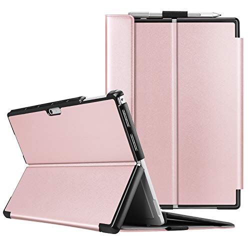 Fintie Case for Microsoft Surface Pro 7 Compatible with Surface Pro 6 / Surface Pro 5 12.3 Inch Tablet, Hard Shell Slim Portfolio Cover Work with Type Cover Keyboard, Rose Gold
