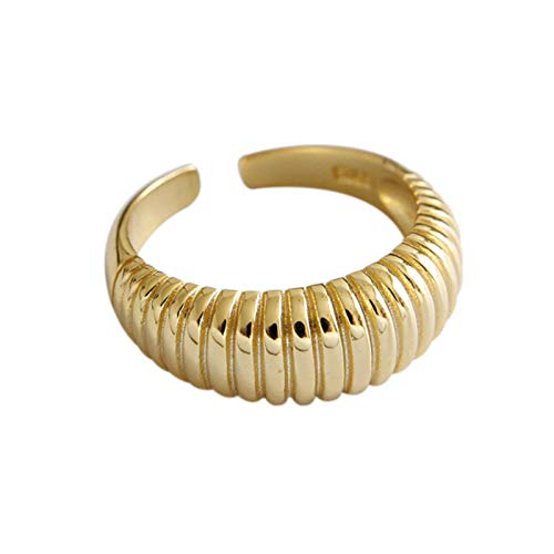 QIN 925 sterling silver party women France simple gold-plated corrugated creative design bride jewelry gift