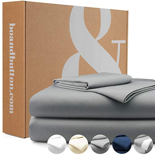 bo&button® Mako Satin Bettwäsche, echte Luxusqualität, Set 135x200 cm, 100% feinste GOTS Bio Baumwolle, Grau/Stone/Anthrazit