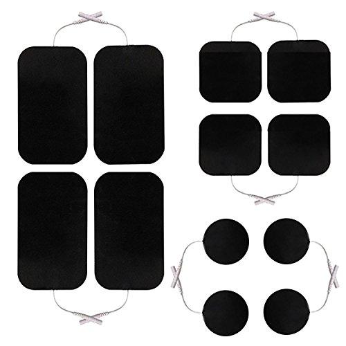 12 Stück Mischset Elektroden/Pads für TENS EMS Reizstromgerät mit 2mm-Anschluss, verschiedene Größen