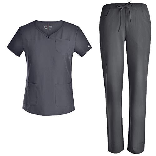 Stretch Women Scrubs Set - Pandamed Curved Notch Neck Slim Scrubs Uniforms Top and Pants JYC302 Pewter M